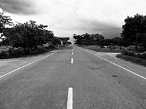 Grayscale Photography of Concrete Road during Daytime Royalty Free Stock Photos