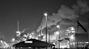 Grayscale Photography of a Factory Royalty Free Stock Photography