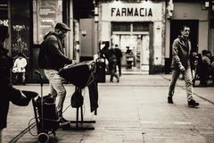Grayscale Photography of Farmacia Store Front Stock Image