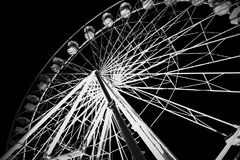 Grayscale Photography of Ferris Wheel stock photo