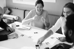 Grayscale Photography of Four Person Having A Discussion Royalty Free Stock Photo