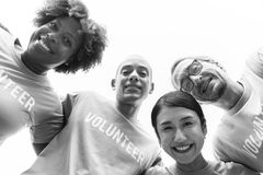 Grayscale Photography of Group of People Wearing Volunteer-printed Shirt stock photos