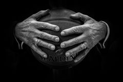 Grayscale Photography of Human Hand Holding Spalding Basketball Royalty Free Stock Photography