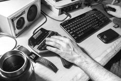 Grayscale Photography of Human Left Hand Near Computer Keyboard Stock Image