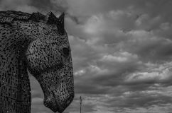 Grayscale Photography of the Kelpies Stock Images