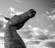 Grayscale Photography of the Kelpies Royalty Free Stock Images