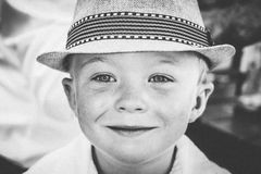 Grayscale Photography of Kid's Wearing Hat Stock Images