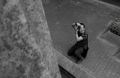 Grayscale Photography of Man Taking Picture Stock Photo