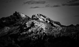 Grayscale Photography Of Mountain Royalty Free Stock Photography