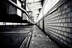 Grayscale Photography of a Pathway Royalty Free Stock Photography