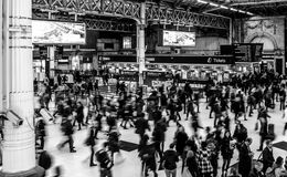 Grayscale Photography of People Walking in Train Station Stock Photography