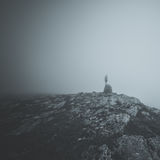 Grayscale Photography of Person Standing on Cliff Stock Photos