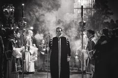 Grayscale Photography Of Priests Royalty Free Stock Images