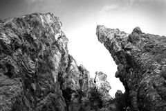 Grayscale Photography of Rock Formation Royalty Free Stock Photography