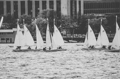Grayscale Photography of Sailboats during Daytime Royalty Free Stock Photography