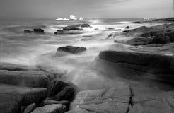 Grayscale Photography of Seashore Stock Photography