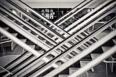 Grayscale Photography of Staircases With Handrails Stock Images