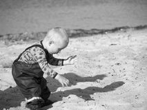 Grayscale Photography Of Toddler On Beach Sand royalty free stock photo