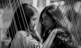 Grayscale Photography of Two Girls Stock Photos