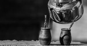 Grayscale Photography of Two Pots Royalty Free Stock Photography