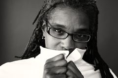 Grayscale Photography of Woman Covering Mouth by White Top Royalty Free Stock Photo