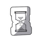 Grayscale pixel hourglass icon. Illustraction design Stock Image
