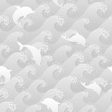 Grayscale seamless background with the dolphins and big waves Stock Photography