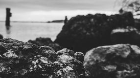 Grayscale and Selective Focus Photo of Sea Shore Royalty Free Stock Photography