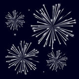 Grayscale shiny fireworks on black background. Eps10 Royalty Free Stock Photos