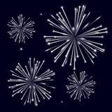 Grayscale shiny fireworks on black background Royalty Free Stock Photos