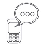 grayscale silhouette of cell phone with oval speech Royalty Free Stock Image