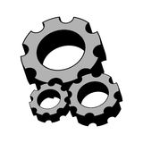 Grayscale silhouette with gear wheels set Royalty Free Stock Image