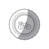 Grayscale silhouette with middle shadow sticker of bicycle with basket in round frame. Vector illustration Stock Photos
