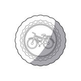 Grayscale silhouette with middle shadow sticker of bicycle in round frame Royalty Free Stock Photos