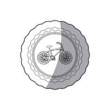 Grayscale silhouette with middle shadow sticker of bicycle in round frame Stock Photo