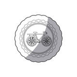 Grayscale silhouette with middle shadow sticker of bicycle in round frame Royalty Free Stock Image