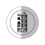 Grayscale silhouette with middle shadow sticker in circle with apartment with several floors Royalty Free Stock Photography