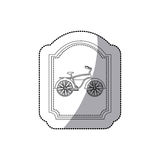 Grayscale silhouette with middle shadow sticker of classic bicycle in frame Stock Images