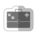 Grayscale silhouette with middle shadow sticker with vet first aid suitcase. Vector illustration Royalty Free Stock Images