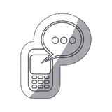 grayscale silhouette sticker of cell phone with oval speech Royalty Free Stock Image