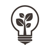Grayscale Silhouette With Lightbulb With Plant Inside Royalty Free Stock Photography