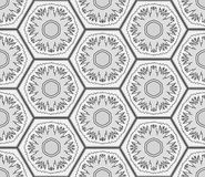 Grayscale snowflakes in hexagons seamless background. Winter holidays pattern. Background for webpages, banners, posters. Made using clipping mask. Vector Royalty Free Stock Image