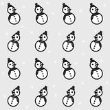 Grayscale snowmen and snowflakes seamless pattern Royalty Free Stock Images