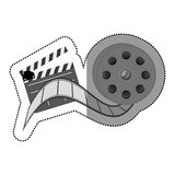 Grayscale sticker with cinematography movie video film tap and clapperboard. Illustration Stock Photo