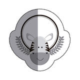 grayscale sticker circle with zebra head and olive branchs and middle shadow Stock Photography