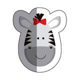 Grayscale sticker with female zebra head and middle shadow Stock Photo