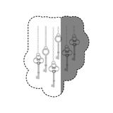 grayscale sticker pattern with vintage keys hanging on chains Stock Photos
