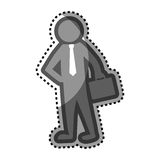 Grayscale sticker with pictogram business man. Vector illustration Royalty Free Stock Images