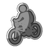 Grayscale sticker with pictogram of man in bike Royalty Free Stock Images