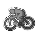 Grayscale sticker with pictogram of man cyclist Stock Photos
